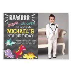 Dinosaur party boy birthday invitation Dinosaur Birthday Invitations, Dinosaur Party, Colored Envelopes, Envelope Liners, 5th Birthday, Custom Invitations, Announcement, Boys, Cards