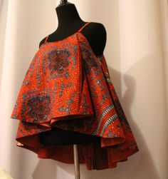 African Fabric Spaghetti Strapped Blouse by AnsabasEtem on Etsy African Fashion Ankara, African Inspired Fashion, Latest African Fashion Dresses, African Print Fashion, Africa Fashion, Latest Fashion, Short African Dresses, African Blouses, African Tops