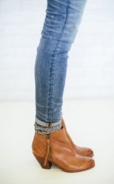 cuffed jeans + ankle socks + boots