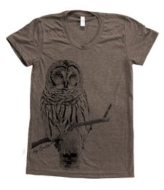 Owl Tshirt Women Custom Hand Screen Printed on by Couthclothing, $20.00