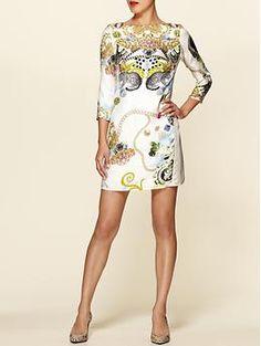 Collage Print Silk Shift Dress  by Tibi $398.00