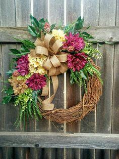 Spring Wreath Summer Wreath Hydrangea Wreath by TheGreetingDoor