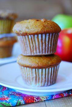 Pumpkin banana muffins with apples and cinnamon