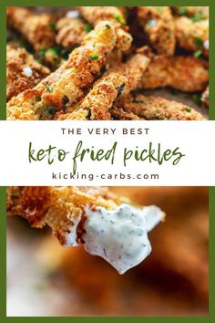 Fried Pickles without the carbs? Count me in! These Keto Fried Pickles is every bit as good as the original. Crispy goodness will keep you coming back for more. Keto appetizer recipes don't get any bettter than this! #kickingcarbs #friedpickles #easyrecipes #ketodinnerrecipes Low Carb Appetizers, Appetizer Recipes, Dinner Recipes, Appetizer Ideas, Low Carb Recipes, Real Food Recipes, Fried Pickles Recipe, Healthy Snacks, Healthy Eating