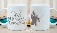 "A girl has no name Arya Stark Game of Thrones mug ""A girl has no name"" ~ Arya Stark Valar Morghulis Mug This listing is for an 11 oz white ceramic mug printed with an unique design made by me. This mu"