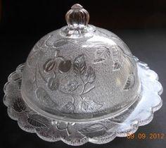 Stippled Cherry Covered Butter Ohio Flint Glass EAPG