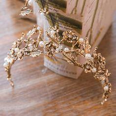 Vintage Baroque Gold Pearl Leaf Bridal Tiara Crystal Crown Hairband Headpiece Vine Tiara Wedding Hair Accessories Bride Headband-in Hair Jewelry from Jewelry & Accessories on Bridal Crown, Bridal Tiara, Bridal Jewelry, Bridal Headpieces, Wedding Jewelry For Bride, Crown For Women, Bride Headband, Crown Headband, Hair Crown