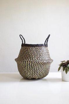 Small Black + Natural Woven Basket