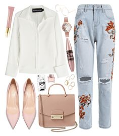 A fashion look from September 2017 featuring white shirt, distressed jeans and pink handbags. Browse and shop related looks. Brandon Maxwell, Olivia Burton, Furla, Tilt, Maybelline, Casetify, Cool Stuff, Stuff To Buy, Burberry