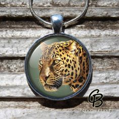 Jaguar  Glass Dome Print Pendant Jewelry P831 by ClearBeauty, £7.99