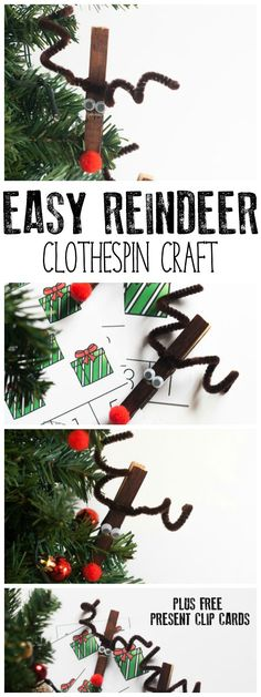 easy reindeer clothespin craft for kids to make