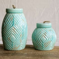 Teal Terra Cotta Pots | Teal Canisters | Teal Kitchen Decor