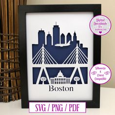 Boston City Paper Cut Digital Download and Decal by JumbleinkDesign on Etsy Paper Cutting, City Paper, Handmade Items, Cricut, Digital, Boston, Decal, Gifts, Etsy