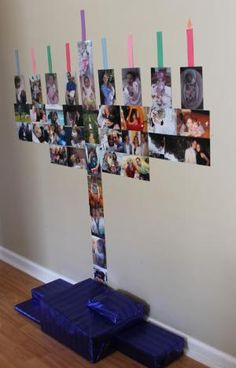 10 Hanukkah Crafts and DIY Menorahs: DIY Wall Photograph Menorah - great idea