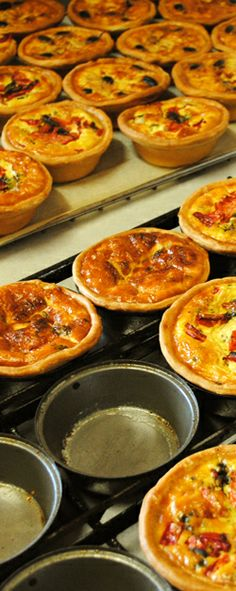 Warm quiches just out of the oven... Just the best!