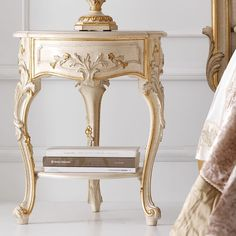 Ornate Ivory and Gold Italian Small Round Bedside Table at Juliettes Interiors, find bedsides and a large range of Classic Italian Furniture. Rococo Furniture, Luxury Bedroom Furniture, Gold Furniture, Italian Furniture, French Furniture, Classic Furniture, Contemporary Furniture, French Bedside Tables, Painted Furniture