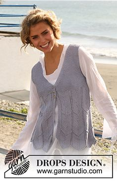 40f687418822a5 Ravelry  129-14 Vest with zigzag pattern in Muskat pattern by DROPS design  Knitting. Knitting Patterns ...
