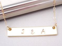 Personalized Gold Bar Necklace Gold Nameplate by BeautifulAsYou