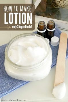 How to make Lotion that you can make with only 3 ingredients. This DIY Body Lotion is easy and smells amazing. It is the only natural lotion you will ever want to use again!
