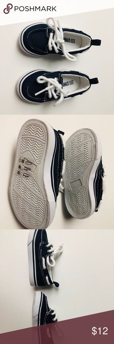 GYMBOREE Boat Shoes Boy Chambray Blue Tie Size 1 NWT