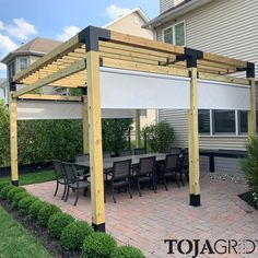 With our Simple DIY Modular Pergola kit system, it has never been easier to have a perfect backyard patio environment in 45 minutes. Modern Pergola, Outdoor Pergola, Backyard Pergola, Pergola Kits, Backyard Landscaping, Deck With Pergola, Covered Pergola, Backyard Shade, Backyard Patio Designs