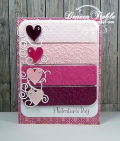 Valentines day card with Cuttlebug folders. How about reds and greens for Christmas … – Happy Valentine's Day Cards Valentines Day Cards Handmade, Valentines Diy, Homemade Valentine Cards, Valentines Hearts, Valentine Nails, Paint Chip Cards, Paint Sample Cards, Tarjetas Diy, Karten Diy