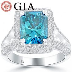 5.08 Carat GIA Certified Fancy Blue Diamond Engagement Ring 18k White Gold