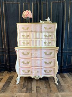 SOLD~ Hand painted french Provincial chest on chest / vintage pink floral dresser Cute Furniture, Furniture Update, French Furniture, Furniture Projects, Furniture Making, Vintage Furniture, Bedroom Furniture, Art Projects, Painting Antique Furniture