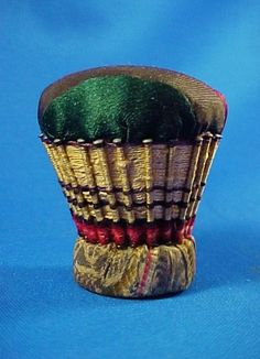 Antique c 1850 Sewing Pin Cushion, Woven Silk Threads, Early Pins