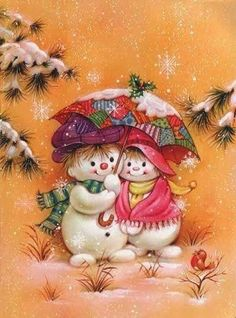 Paper - Printable - Christmas - Snowman couple Under umbrella Christmas Scenes, Vintage Christmas Cards, Christmas Pictures, Xmas Cards, Christmas Snowman, Vintage Cards, All Things Christmas, Winter Christmas, Christmas Crafts