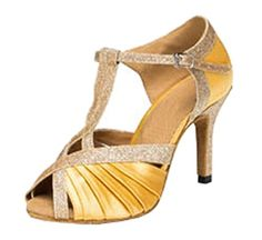 TDA Womens TStrap High Heel Gold Leopard Ruched Peep Toe Latin Ballroom Modern Dance Shoes 10 M US * Check out the image by visiting the link.