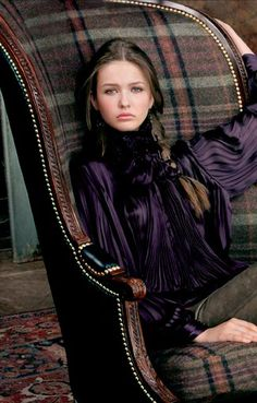 Love the color of the blouse. Ralph Lauren