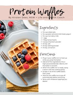 Waffle Recipe With Protein Powder, Easy Waffle Recipe, Protein Powder Recipes, Waffle Recipes, Snack Recipes, Healthy Waffles, Protein Waffles, Clean Eating Breakfast, School Breakfast