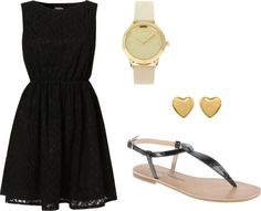 Eleanor Inspired School Dance Outfit      Coco's Fortune sleeveless dress, $70 / Chinese Laundry snakeskin sandals / ASOS watch / Jane Norman heart jewelry, $3.88