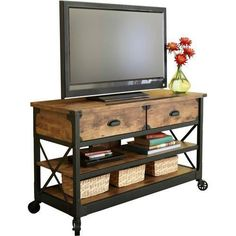 TV Stand Table Rustic Console Living Room Pine Industrial Media Cabinet Country #BetterHomesandGardens