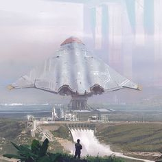 Mega Spaceport – Art by Martin Parker. Spaceship Art, Spaceship Design, Spaceship Concept, Concept Ships, Concept Art, Arte Sci Fi, Sci Fi Art, Sci Fi Fantasy, Fantasy World