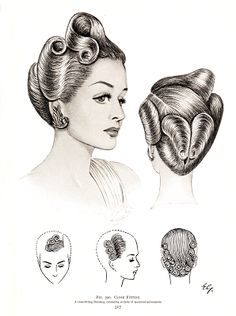 From The Art and Craft of Hairdressing edited by N. E. B. Wolters, 1958 printing.  via Vintage Scans