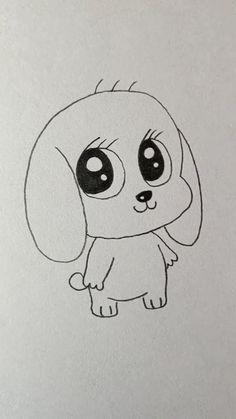 Easy Disney Drawings, Easy Animal Drawings, Easy Doodles Drawings, Easy Cartoon Drawings, Cute Easy Drawings, Cute Little Drawings, Art Drawings Sketches Simple, Baby Drawing Easy, Cartoon Pencil Drawing