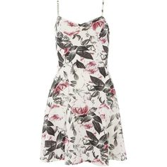 Dorothy Perkins Ivory Rose Cami Dress featuring polyvore, fashion, clothing, dresses, robes, rose, ivory, floral print skater dress, white dress, white strappy dress, white floral dress and ivory camisole