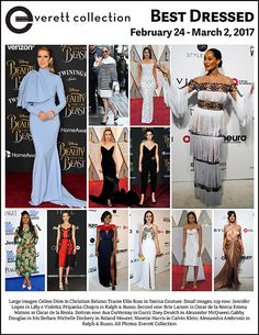 Large images: Celine Dion in Christian Siriano; Tracee Ellis Ross in Yanina Couture. Small images, top row: Jennifer Lopez in Lilly e Violetta; Priyanka Chopra in Ralph & Russo. Second row: Brie Larson in Oscar de la Renta; Emma Watson in Oscar de la Renta. Bottom row: Ava DuVernay in Gucci; Zoey Deutch in Alexander McQueen; Gabby Douglas in Iris Serban; Michelle Dockery in Roland Mouret; Naomie Harris in Calvin Klein; Alessandra Ambrosio in Ralph & Russo. All Photos: Everett Collection