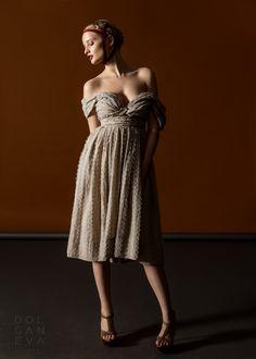 Платье - лён, органза / dress - flax, organza