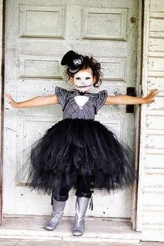 2014 Halloween kids Jack Skellington nightmare before christmas makeup - face painting, tutu dress #2014 #Halloween