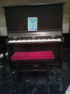 """The Studio Commissary: Non-Theme: Let the music play!!!!...(5 PICS)  -  Posted by Pamnaz on Sept. 4, 2017, 5:54 pm. My upright piano is done!! Although I have the Tonner Grand Piano (which I love and would not part with), I thought it would be fun for Gene and friends to have an upright, vintage-looking piano. After seeing a tutorial video on Youtube on how to make a miniature upright piano, I thought to myself... """"Hey, maybe I can try that in Gene scale."""" Here is the end result."""