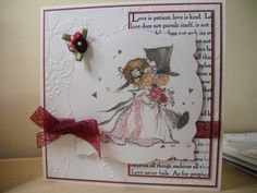 "wedding card with LOTV topper.  back panel stamped with ""Corinthians"" stamp from Claritystamp"