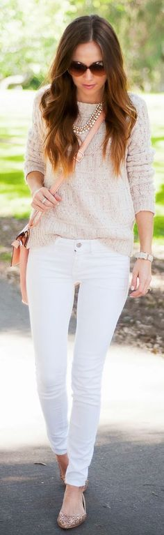 Lulu's Neutral Knit Sweater For Spring