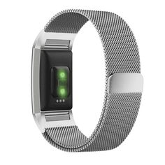 Fitbit Charge 2 Band, UMTELE Milanese Loop Stainless Steel Metal Bracelet Strap with Unique Magnet Lock, No Buckle Needed for HR Fitness Tracker Silver