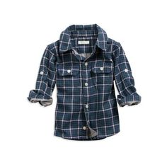 Baby Boys favorite plaid shirt (Cadet Navy) ($15) ❤ liked on Polyvore featuring tops, baby, baby boy, kids e clothing & accessories