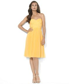 Bridesmaid Lauren Ralph Lauren Dress, Strapless Sweetheart Ruched - Womens Dresses - Macy's