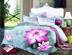 Light blue floral lotus flower bedding comforter set king queen size duvet cover bedspread bed sheets sheet cotton water lily
