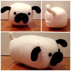 DIY pug stuffed animal pillow with heart stitching (2013)
